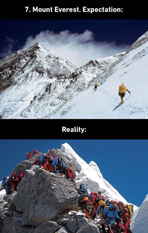 expectations vs realty of mount everest