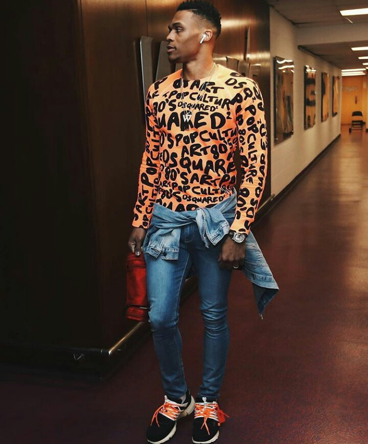 1bb0b98e6bdbce ... 2 with Off white x Nike Air presto sneakers with his own Tumi travels x  Russell Westbrook toiletry bag for Oklahoma City Thunder game against the  ...