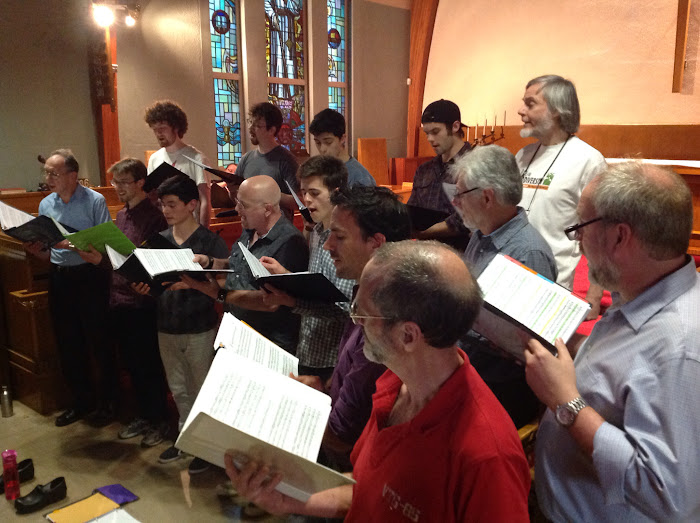 The men of Stairwell practice for the spring 2015 concerts