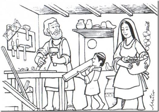 Colorear dibujos de San José trabajando de carpintero