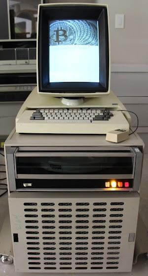 Bitcoin mining on a vintage Xerox Alto computer.