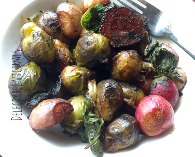 pan roasted redish and brussels sprouts sweet potato medallion taboulleh