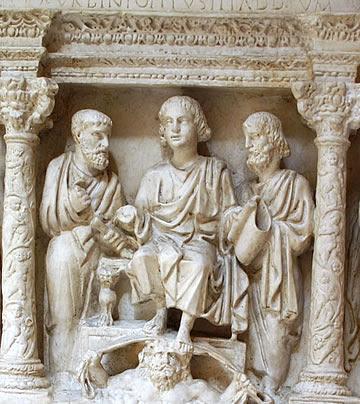 Chrystus w chwale  zasiada na tronie niebieskim... Jego stopy spoczywają na głowie Uranusa, pogańskiego boga nieba
