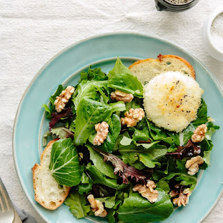 Alice Water's Baked Goat Cheese with Spring Lettuce Salad.