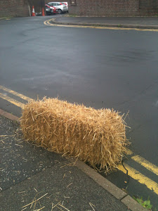Hay bale in the street