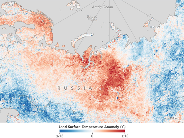 Land surface temperature anomaly in Central Asia, 20-27 July 2016. Graphic: NASA Earth Observatory