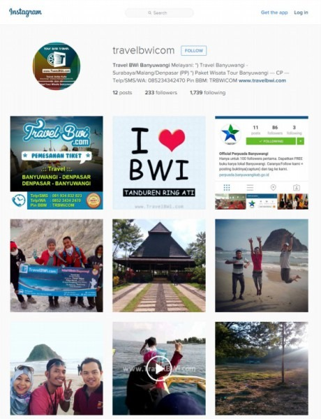 Official Account Instagram - Travel BWi Banyuwangi