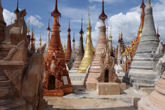 tightly clustered pagodas and stupas. From Romping on the Fertile Waters: The Bounties of Inle Lake, Myanmar