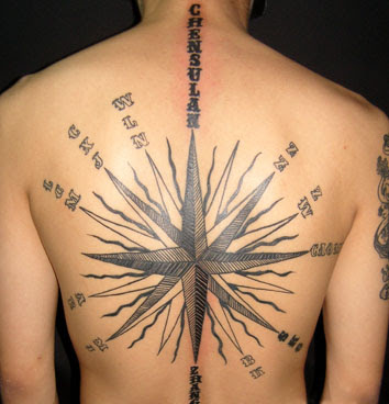 Bussola desenhos de Tatuagem na parte traseira cheia de ideias para homens