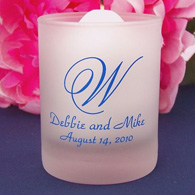 Personalized frosted glass votive candles