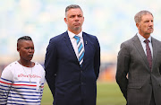 Portia Modise , Mark Fish and Stuart Baxter of South Africa and of Jamaica during the Women's Internatonal Friendly match South Africa and Jamaica at Moses Mabhida Stadium on April 07, 2019 in Durban, South Africa.