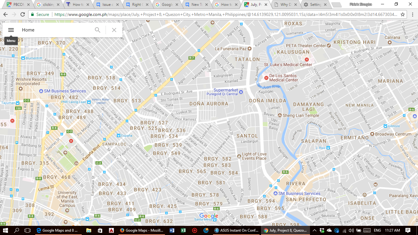 Clicking on places, search, menu, navigation and street view ... on google gps laptop, google chrome laptop, google maps gps,