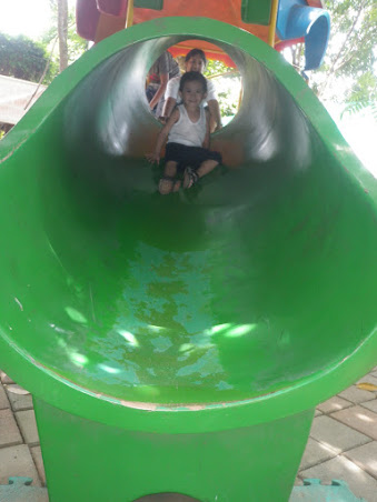 Daddy and child in a Playground