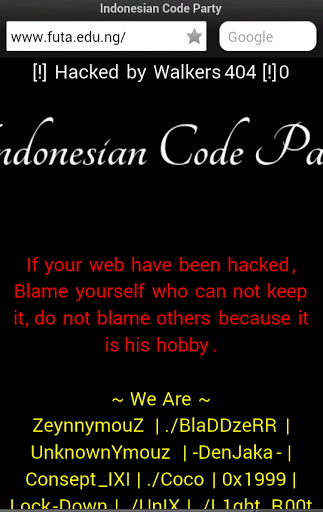 FUTA Website Hacked By Indonesian Hacking Group 22