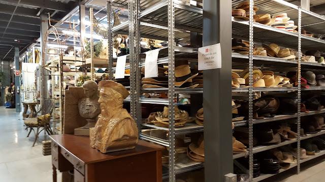 Shelves of men's hats at the Stratford Festival Costume Warehouse