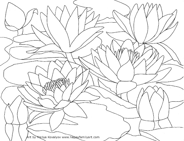 Flower Coloring Pages Fuchsia Water Lily