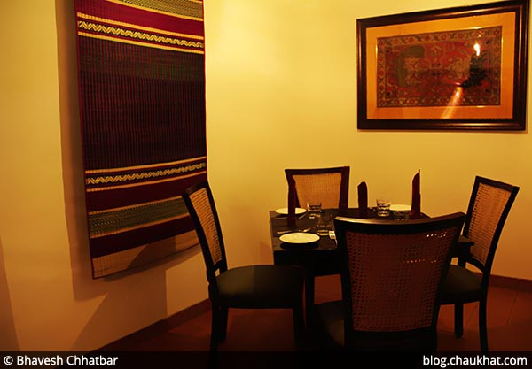 Semi-private dining area with Pattamadai Pai mat, at Savya Rasa [Koregaon Park, Pune]