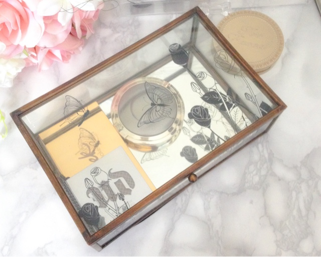 glass makeup or jewellery box