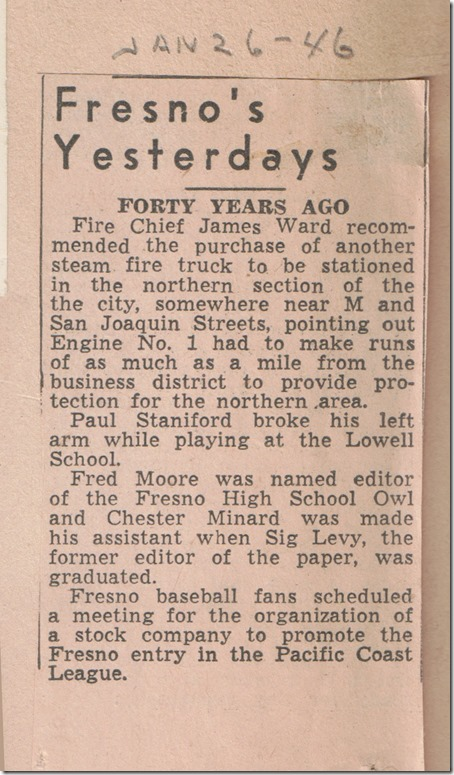Page 1 Fresnos Yesterdays Jan 26 1946
