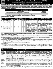 CRIS Recruitment 2017 www.indgovtjobs.in