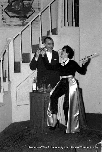 Bob Bloomer and Martha Goldhoff in rehearsal for AUNTIE MAME  - December 1961.  Property of The Schenectady Civic Players Theater Archive.