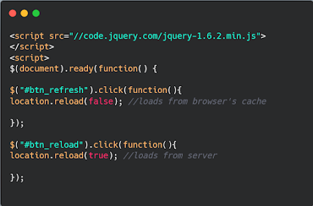 How to reload/refresh a page using JavaScript and jQuery? Example