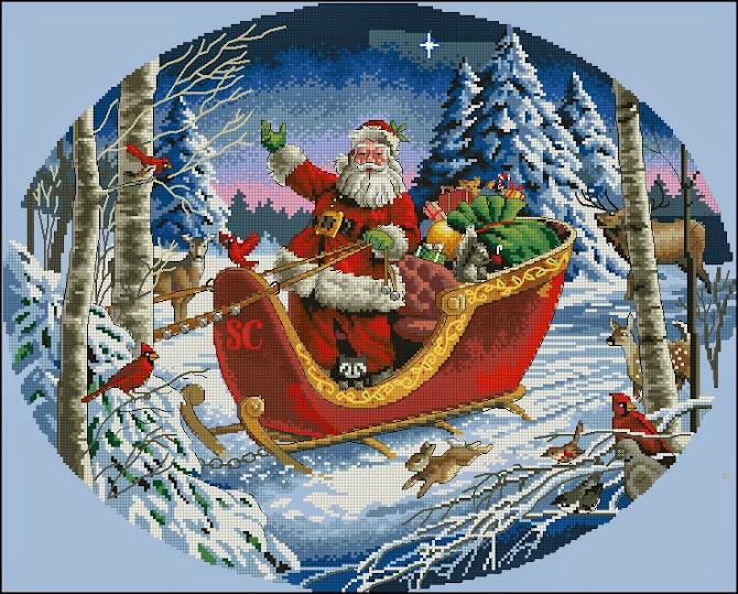 Santas Sleight cross stitch pattern