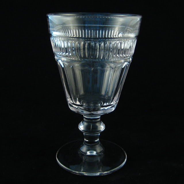 EAPG Flute with Fine Pleat Band Goblet 1860s or 1880s