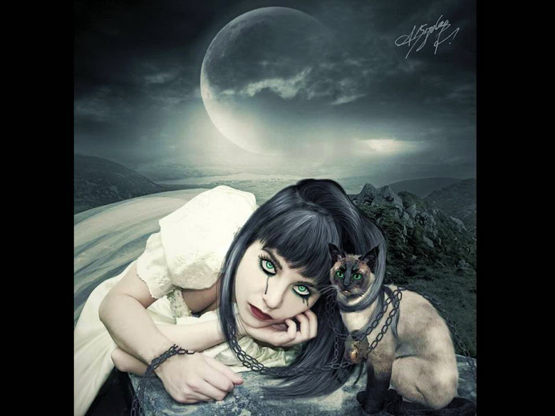 Moon Cat And Green Eyed Girl, Moon Magic
