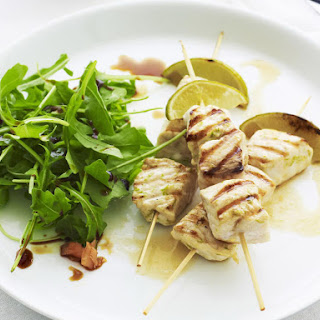 Fish Skewers with Lime, Ginger and Arugula