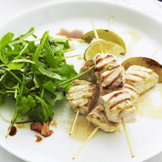Fish Skewers with Lime, Ginger and Arugula.