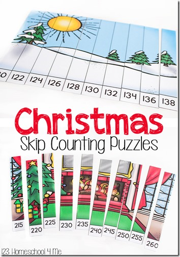 FREE Christmas Skip Counting Puzzles! Help kids practice skip counting higher numbers in 1st grade, 2nd grade, 3rd grade, and 4th grade. Great for after school, classrooms, and homeschool. (math games, learning activities)