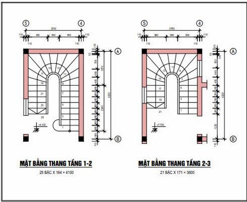Mặt bằng thang tầng 1-2 và tầng 2-3