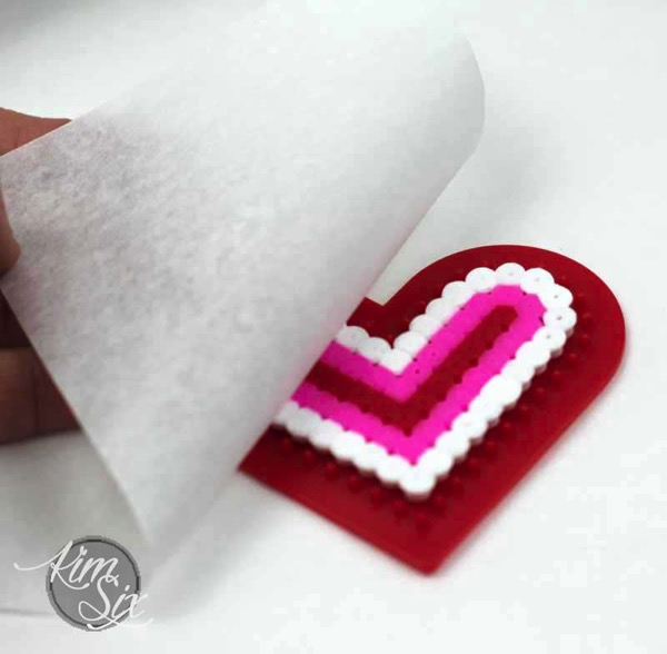 Pearler bead melt my heart valentine
