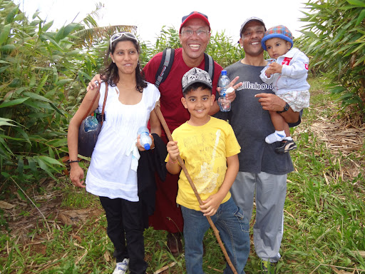 Kopan Monastery's Ven. Losang with Soobi, Maya and family, Dharmarakshita Study Group, Mauritius. Photo by Ashwan Awotar.
