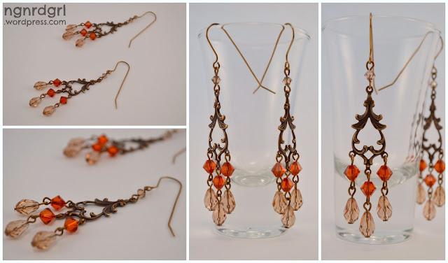 Faux Antique Cyrstal Chandelier Earrings