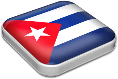 Flag of Cuba with metallic square frame