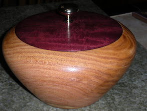 """Photo: Black Sumac bowl with Purpleheart and brass lid 10"""" x 8"""" Not for sale"""