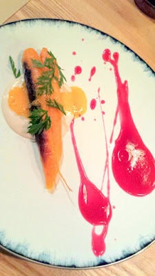 Roast Carrot, smoked walnut milk, cabbage cider, golden beet juice