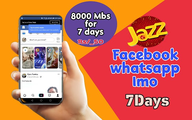 Mobilink Jazz Weekly Social Bundle Now Get 8Gb for 7days