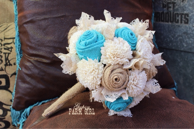 sola flowers with jade / turquoise burlap roses and lace bride's bouquet