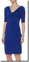 Lauren Ralph Lauren Cowl Neck Blue Ruched Dress