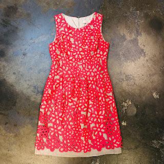 Lela Rose Coral Silk Lace Dress