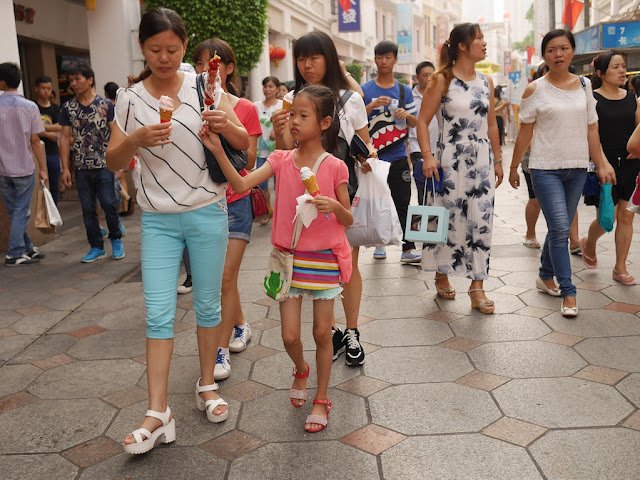 girl and mother eating ice cream in Zhongshan, Guangdong