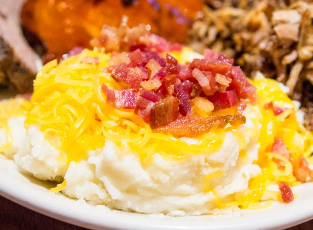 close-up photo of loaded mashed potatoes