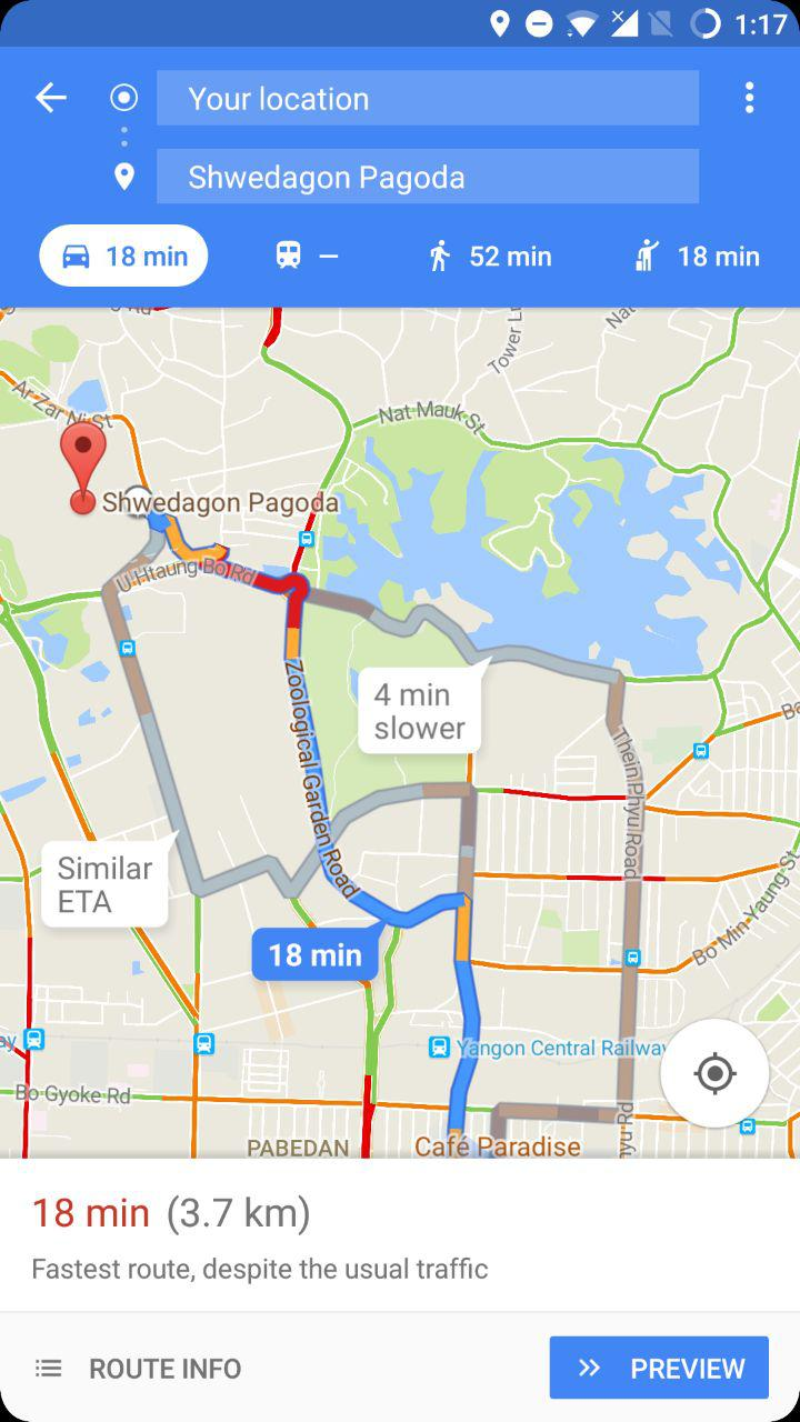 Only Preview Button Is Available In Google Map S Navigation