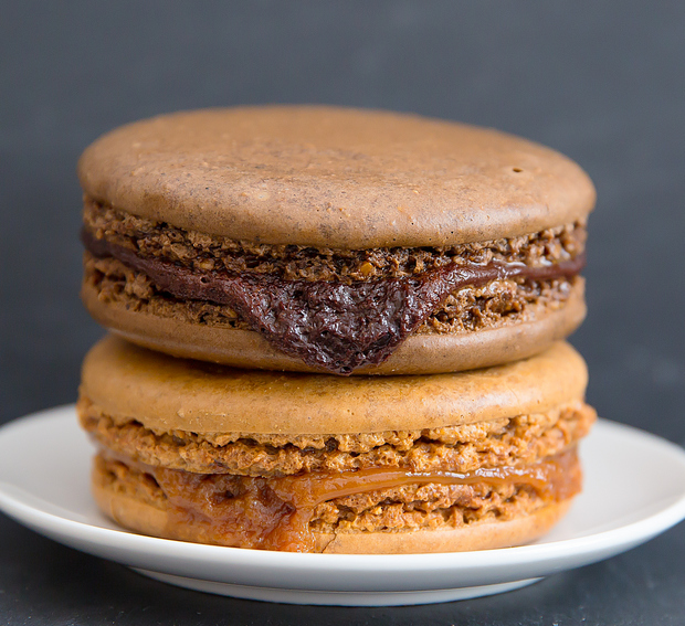 close-up photo of a stack of two Molten Macarons