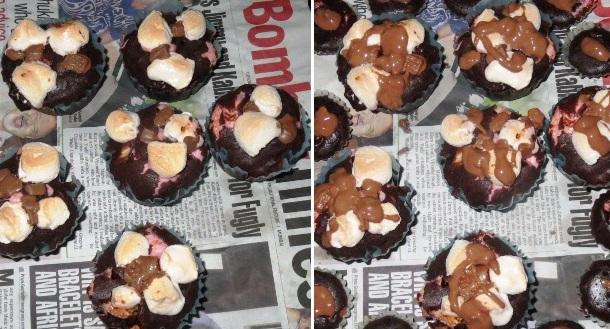 Rocky Road Cupcakes Recipe | Eggless Cakes | Step by Step Recipe for eggless rocky Road cupcakes - by Foodomania.com