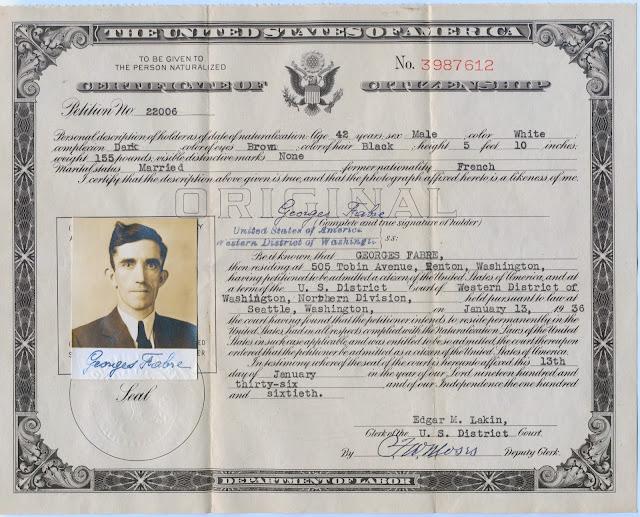 George Louis Fabre, Renton WA, Certificate of Citizenship 1936.