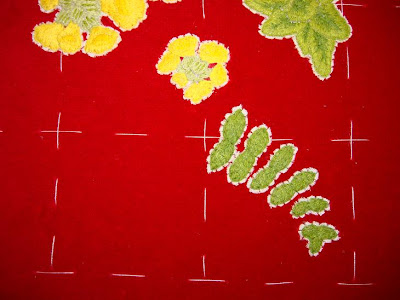 Ruth O'Leary Textile Art: first embroidered fern on St Cuthbert's Banner